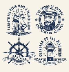 Vintage nautical monochrome labels vector