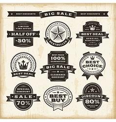 Vintage sale labels set vector image vector image