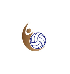 volleyball player smash and serving ball for logo vector image