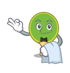 Waiter ping pong racket mascot cartoon vector