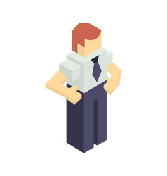 Warehouse manager isometric icon vector