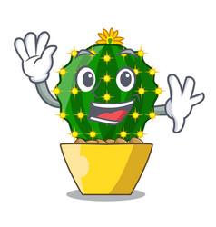 Waving character mammillaria cactus at cactus farm vector