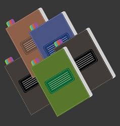 A set of colored writing notebooks vector image