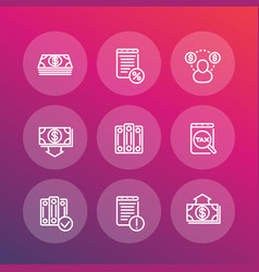 bookkeeping line icons set accounting payroll vector image vector image