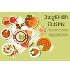 Bright festive menu icon of bulgarian cuisine vector