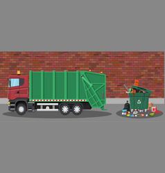 garbage car and trash vector image vector image
