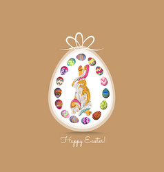 happy easter greeting card with eggs and doodle vector image vector image