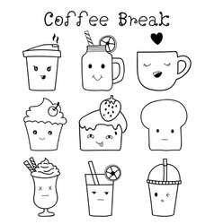 set of cute bakery and coffee hand drawn doodle vector image vector image