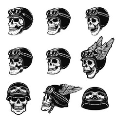 set of the racer skulls isolated on white vector image vector image