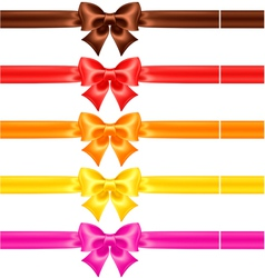 Silk bows in warm colors with ribbons vector image