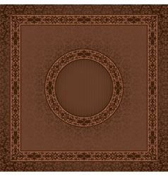 Vintage square card on damask seamless background vector image vector image
