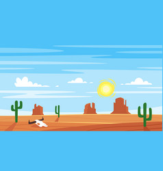 Cartoon style background with hot west desert vector