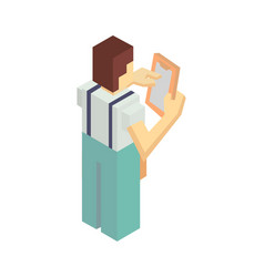 delivery man with invoice isometric icon vector image vector image
