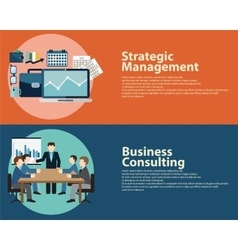 Flat style business success strategy management vector image vector image