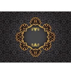 Gold vintage frame on black decorative background vector image