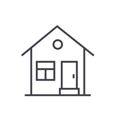 house with door line icon sign vector image vector image