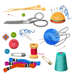 set of accessories for sewing and handicraft vector image