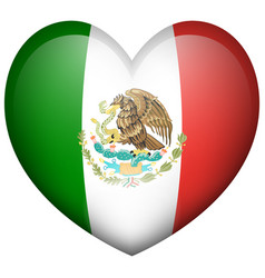 mexico flag in heart shape vector image vector image