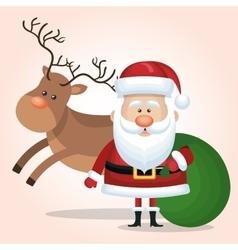 santa calus card reindeer and bag gift green vector image