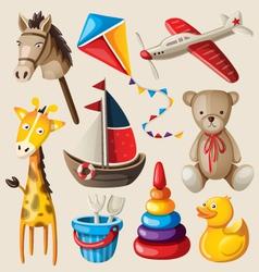 Set of colorful vintage toys for kids vector