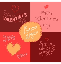 Valentines day hand-lettering labels vector image