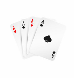 four aces winning poker hand concept playing vector image