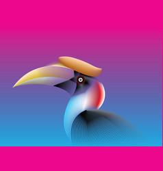 hornbill lines fade color vector image