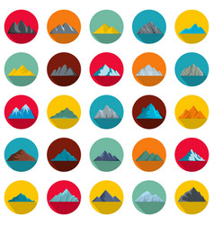 mountain icons set flat style vector image vector image
