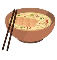 soba noodle soup vector image