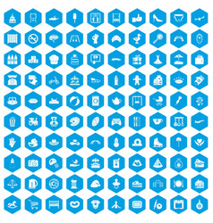 100 mother and child icons set blue vector