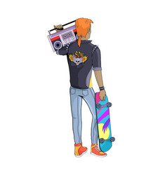 80s stylish man and skateboard vector image
