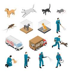 animal control service isometric set vector image