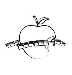 Apple with ruler vector