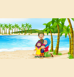 beach scene with family members vector image