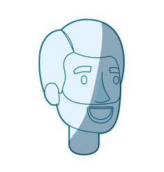 Blue color silhouette shading of bearded man face vector