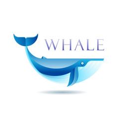 Blue whale gradient logo concept vector