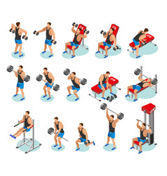 Body building isometric icons vector