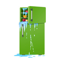 broken refrigerator damaged fridge vector image