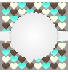 Brown card template with hearts vector image vector image