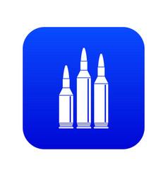 Bullet ammunition icon digital blue vector