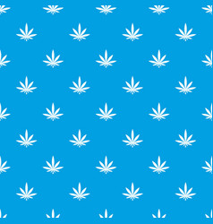 cannabis leaf pattern seamless blue vector image