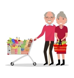 Cartoon old people shopping supermarket vector