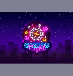 casino night neon logo casino neon sign vector image