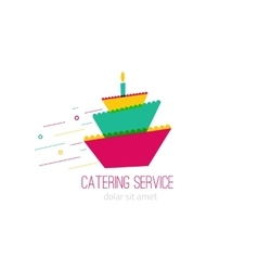 Catering colorful logo with wedding cake -concept vector