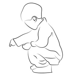 Child crouching on white background vector