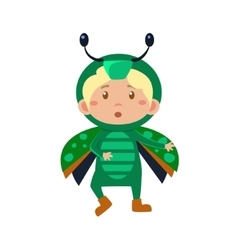 Child Wearing Costume of Bug vector image