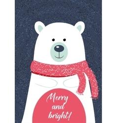 Christmas card template with polar vector