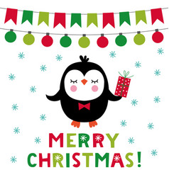 christmas greeting card with a cute penguin vector image