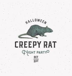 creepy rat halloween night party sign logo or vector image