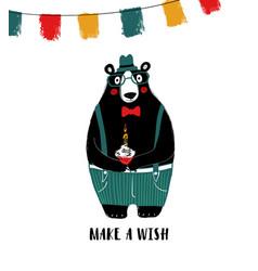 cute bear holding birthday cupcake vector image
